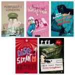 Superfinalister: Fem juryklasser på 6. trinn har lest og vurdert disse bøkene. Torsdag får vi vite hvilken som er elevenes favoritt. Illustrasjon: Vibeke Røgler/Foreningen !les