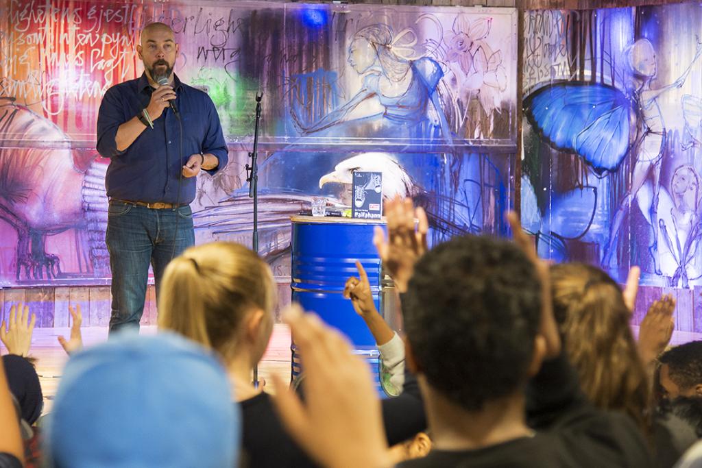 tXt-lansering: Upris-vinner Jan Tore Noreng deltok på lanseringen av Panser på Tøyen biblo. Foto: Vibeke Røgler/Foreningen !les.